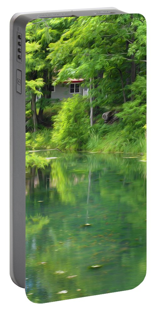 Architecture Portable Battery Charger featuring the painting The House On The Bank Of The Lake by Jeelan Clark