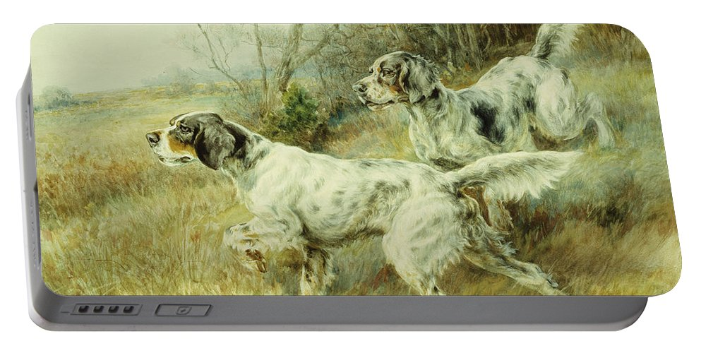 Alert Portable Battery Charger featuring the painting The Hunt by Edmund Henry Osthaus