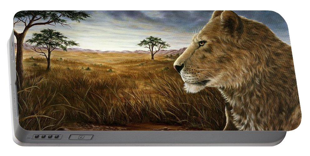 Animals Portable Battery Charger featuring the painting The Huntress by Rick Bainbridge