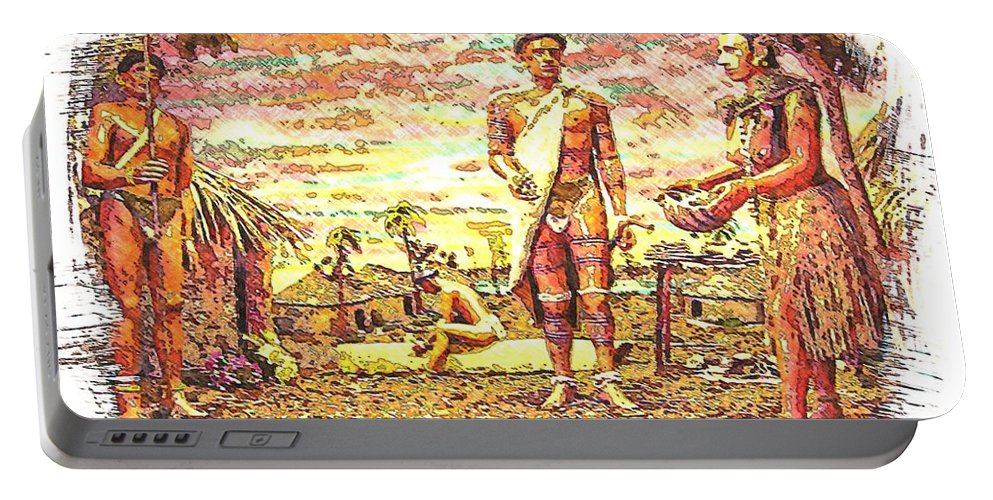 Indian Tribe Portable Battery Charger featuring the digital art The Indian Tribe by Bob Pardue