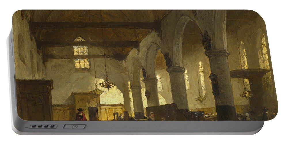 Johannes Bosboom Portable Battery Charger featuring the painting The Interior Of The Bakenesserkerk. Haarlem by Johannes Bosboom