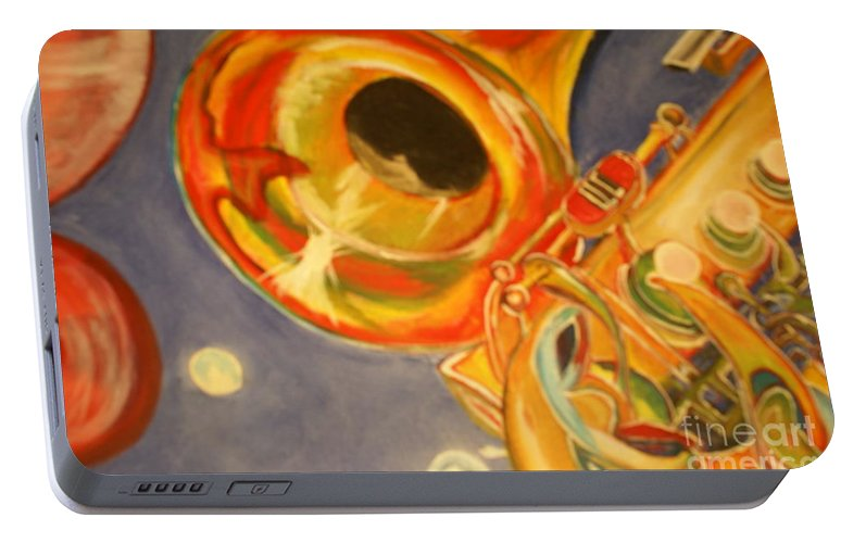Wind Instrument Portable Battery Charger featuring the painting The Jazz Horn by Raymond Sellers
