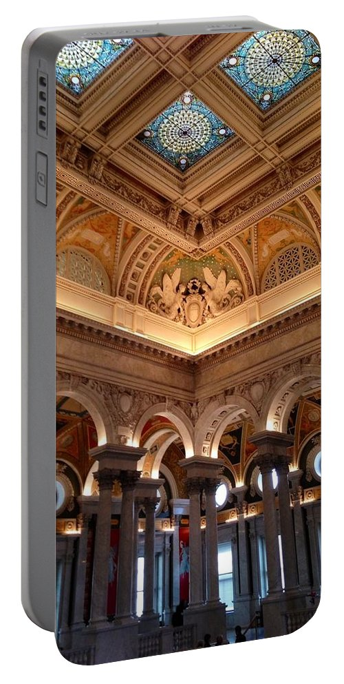 Library Of Congress Portable Battery Charger featuring the photograph The Jefferson Building Library Of Congress by Lois Ivancin Tavaf