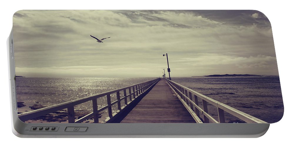Pier Portable Battery Charger featuring the photograph The Jetty by Linda Lees