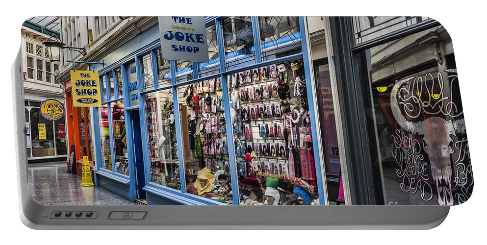 High Street Arcade Cardiff Portable Battery Charger featuring the photograph The Joke Shop by Steve Purnell