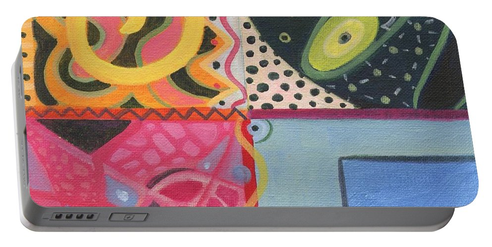 Design Portable Battery Charger featuring the painting The Joy Of Design I X by Helena Tiainen