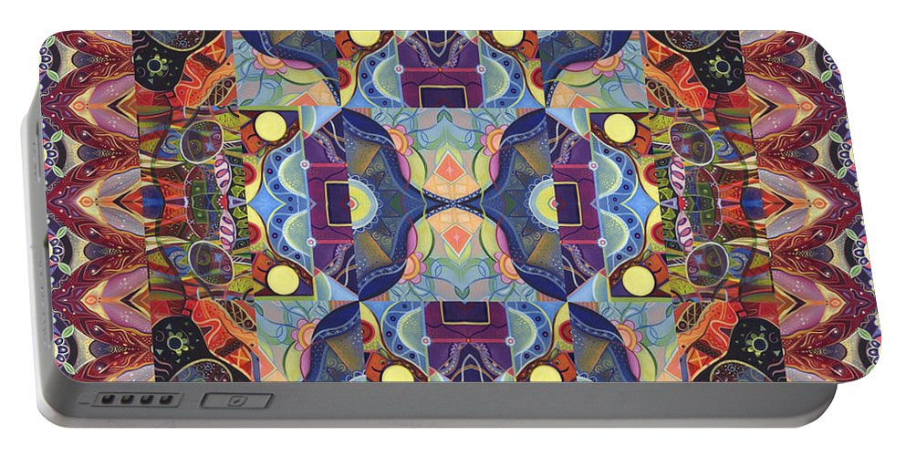 Abstract Portable Battery Charger featuring the digital art The Joy Of Design Mandala Series Puzzle 1 Arrangement 4 by Helena Tiainen
