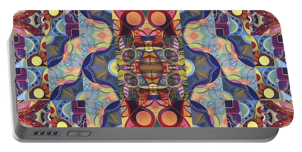 Abstract Portable Battery Charger featuring the digital art The Joy Of Design Mandala Series Puzzle 1 Arrangement 5 by Helena Tiainen