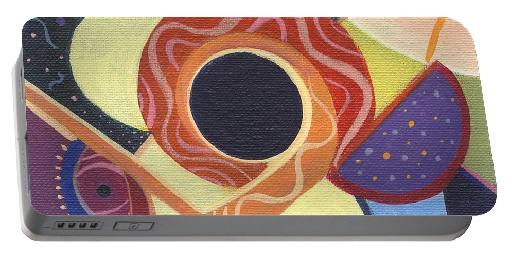 Abstract. Figurative Portable Battery Charger featuring the painting The Joy Of Design X X by Helena Tiainen