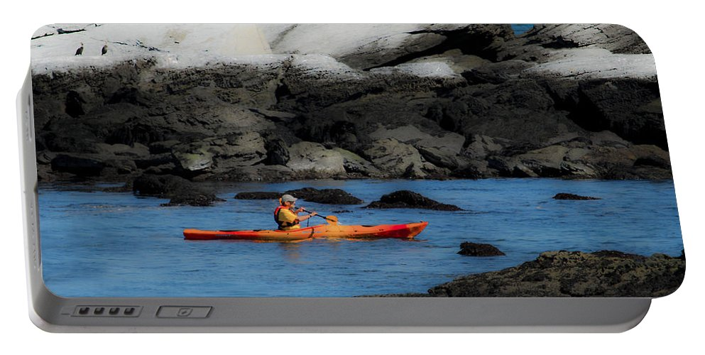 Kayak Portable Battery Charger featuring the photograph The Kayaker by Mike Nellums
