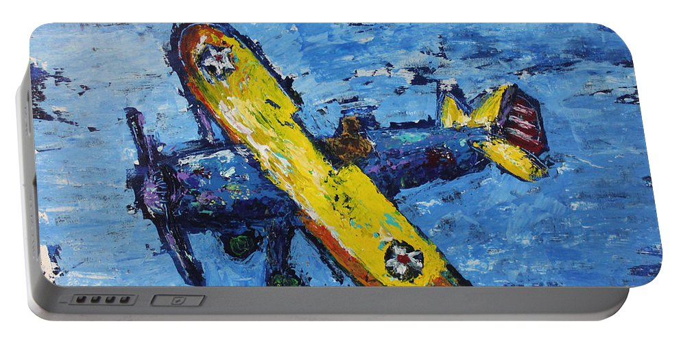 Biplane Portable Battery Charger featuring the painting The Kaydet by Kristye Addison Dudley