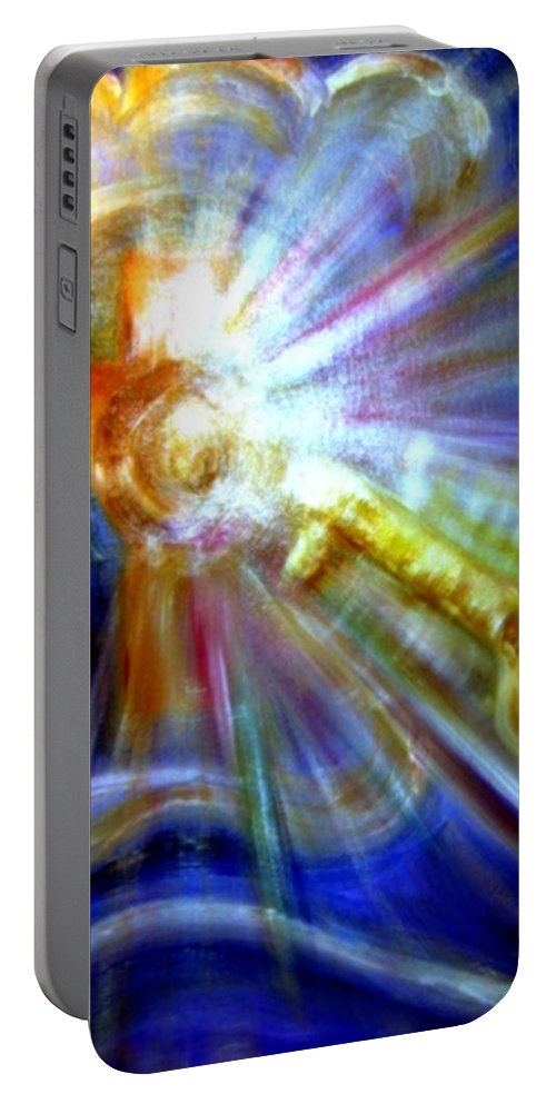 Hristianity Portable Battery Charger featuring the painting The Key by Sandy Ryan