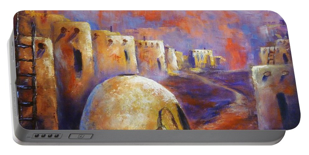 Southwest Art Portable Battery Charger featuring the painting The Horno At Acoma by Sharon Abbott-Furze