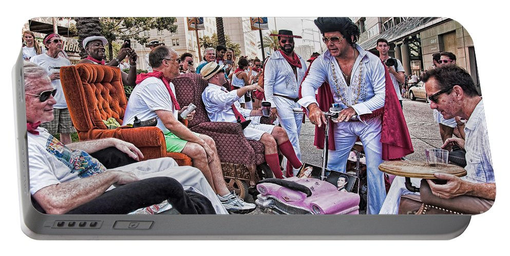 Lazy Portable Battery Charger featuring the photograph The Laissez Boys At Running Of The Bulls In New Orleans by Kathleen K Parker