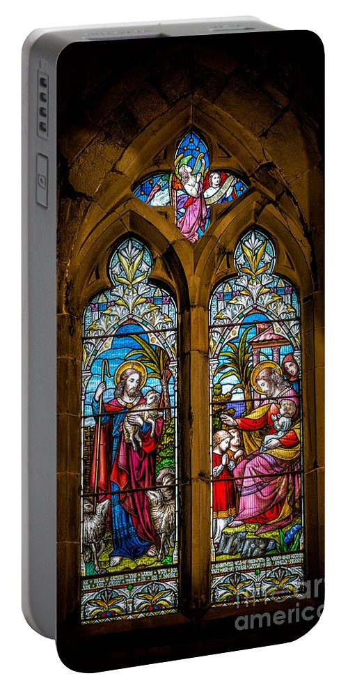 Stained Glass Portable Battery Charger featuring the photograph The Lambs by Adrian Evans