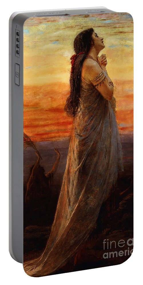 Bereavement Portable Battery Charger featuring the painting The Lament Of Jephthahs Daughter by George Elgar Hicks