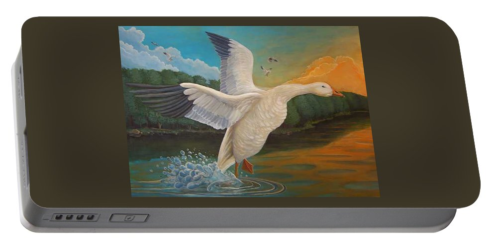 Rick Huotari Portable Battery Charger featuring the painting The Landing by Rick Huotari