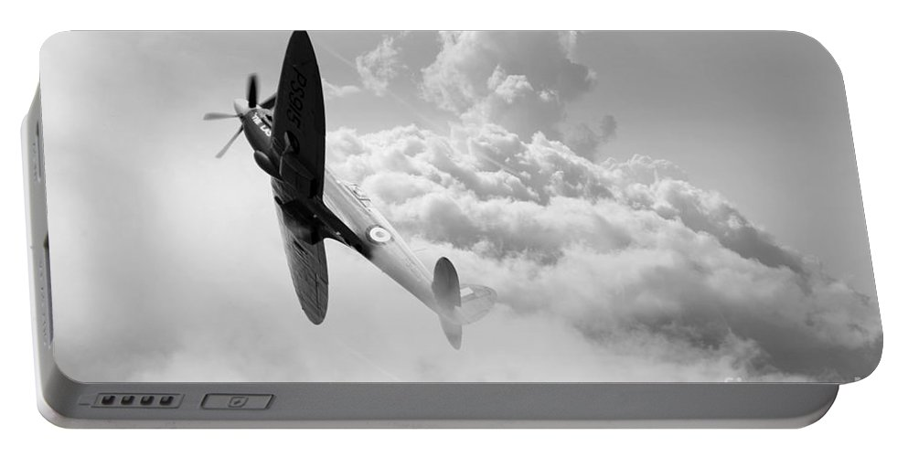 Spitfire Portable Battery Charger featuring the digital art The Last Spitfire by J Biggadike