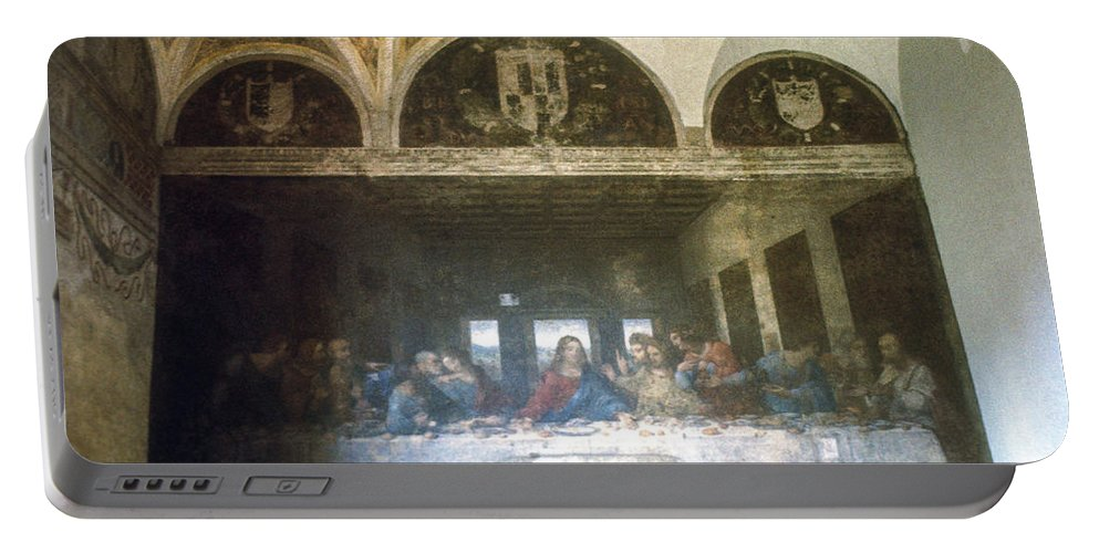 Leonardo Da Vinci's Last Supper Painting Paintings Artwork Mural Murals Milan Italy Santa Maria Delle Grazie Landmark Landmarks Masterpiece Masterpieces Portable Battery Charger featuring the photograph The Last Supper by Bob Phillips
