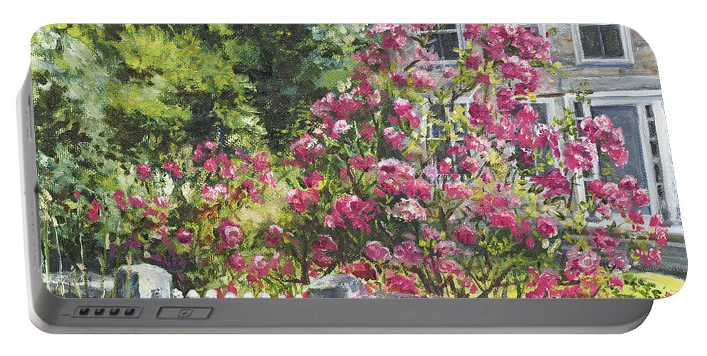 Roses Portable Battery Charger featuring the painting The Late Show by Susan Hanna