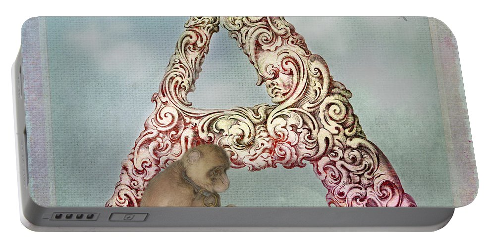 Letter Portable Battery Charger featuring the digital art The Letter A by Terry Fleckney