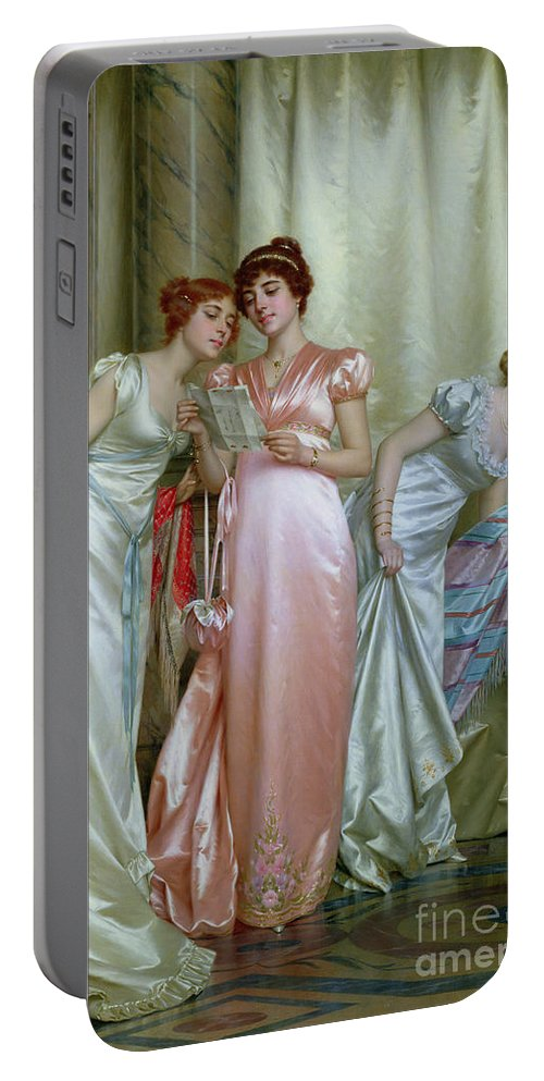 Three Portable Battery Charger featuring the painting The Letter by Vittorio Reggianini