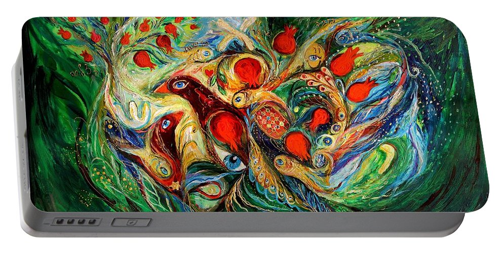Jewish Art Prints Portable Battery Charger featuring the painting The Letters On Green by Elena Kotliarker