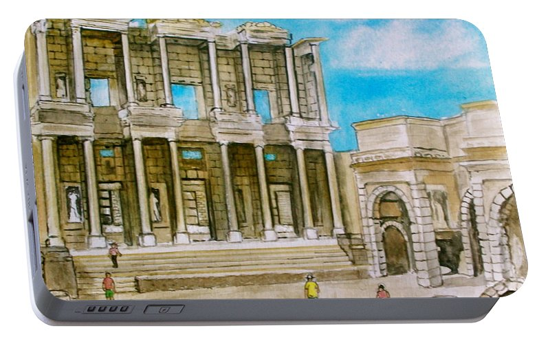 Ephesus Turkey Library Ruins Portable Battery Charger featuring the painting The Library At Ephesus Turkey by Frank Hunter