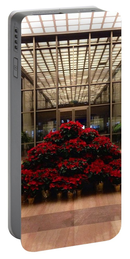 Christmas Portable Battery Charger featuring the photograph The Library Of Congress Madison Building At Christmas by Lois Ivancin Tavaf