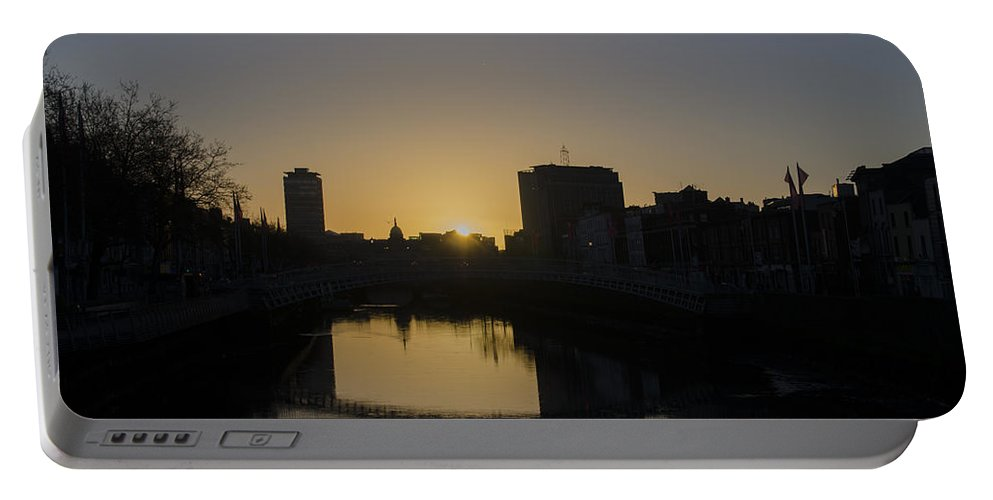 Liffey Portable Battery Charger featuring the photograph The Liffey River In Morning - Dublin Ireland by Bill Cannon