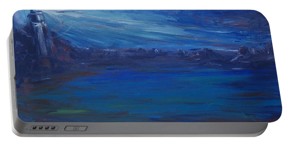 Lighthouse Portable Battery Charger featuring the painting The Lighthouse by Christine Cobden