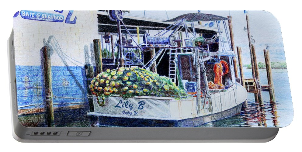 Boats Portable Battery Charger featuring the painting The Lily B by Roger Rockefeller