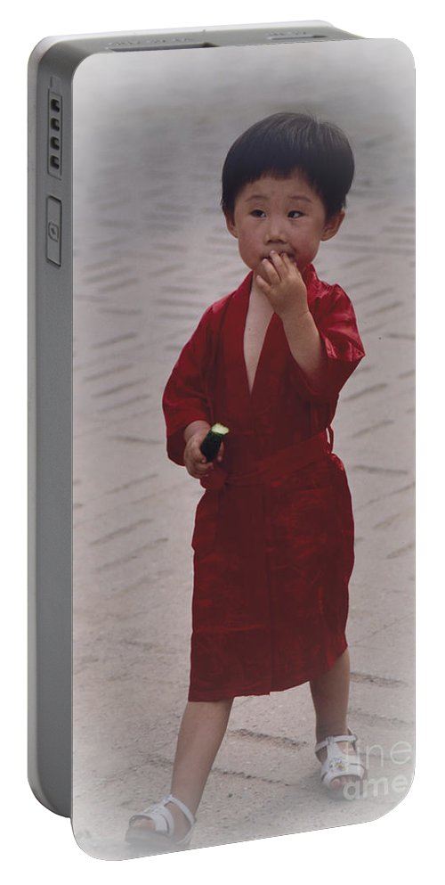 Heiko Portable Battery Charger featuring the photograph The Little Boy In The Red Silk Dress by Heiko Koehrer-Wagner