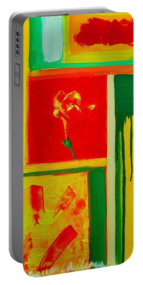 Flower Portable Battery Charger featuring the painting The Little Flower by Ana Maria Edulescu