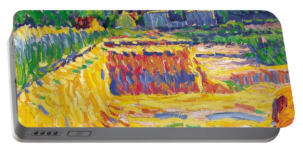 1906 Portable Battery Charger featuring the painting The Loam Pit by Ernst Ludwig Kirchner
