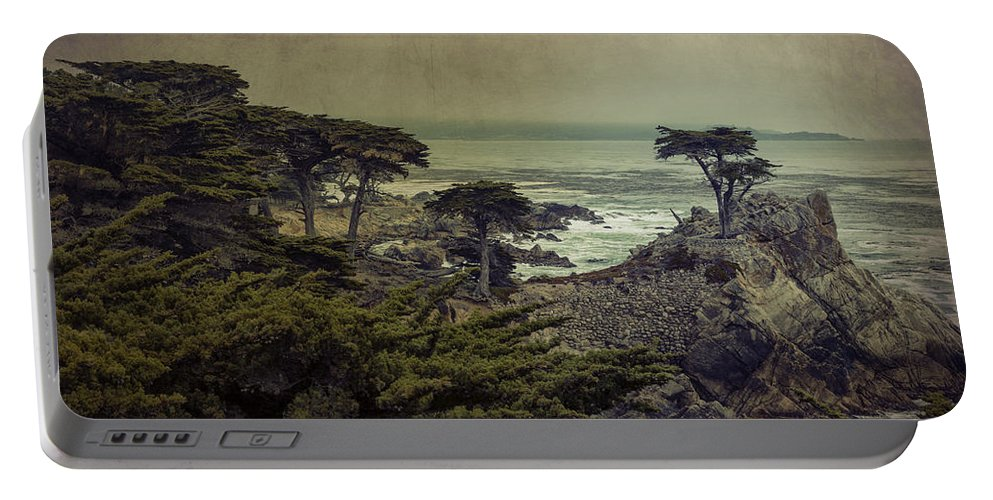 Lone Cypress Portable Battery Charger featuring the photograph The Lone Cypress by Angela Stanton
