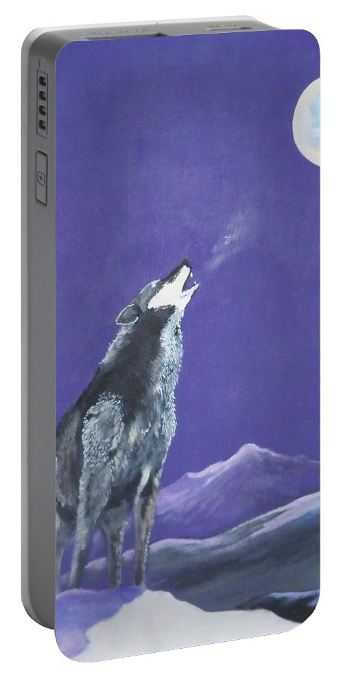Wolf Portable Battery Charger featuring the painting The Loner by Dave Farrow