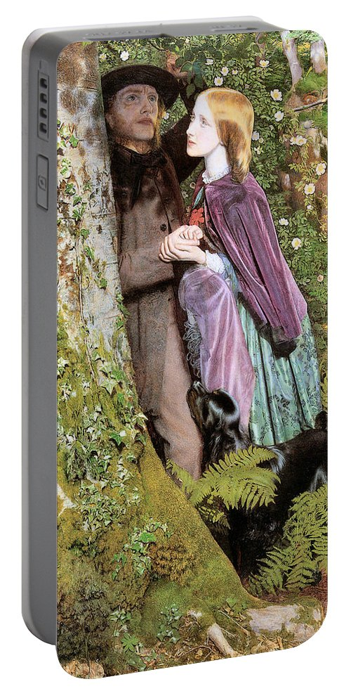 Arthur Hughes Portable Battery Charger featuring the digital art The Long Engagement by Arthur Hughes