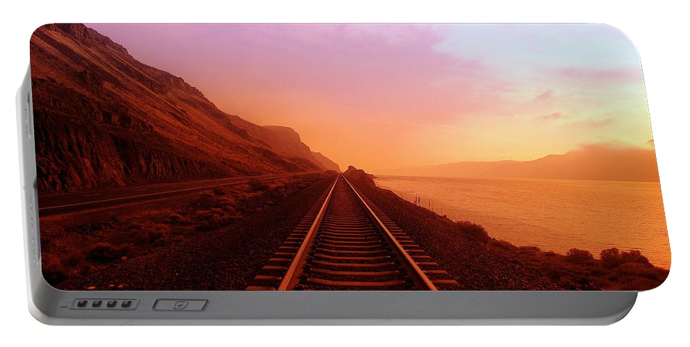 Columbia River Portable Battery Charger featuring the photograph The Long Walk To No Where by Jeff Swan