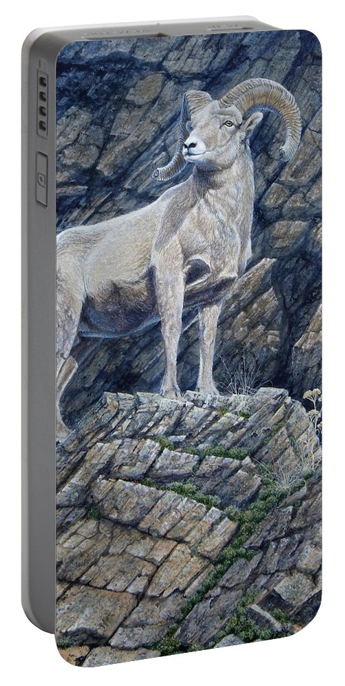 Ram Portable Battery Charger featuring the painting The Look Out by Mike Stinnett