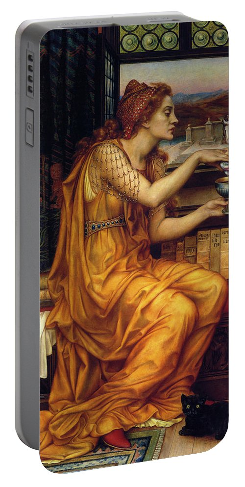 Evelyn De Morgan Portable Battery Charger featuring the digital art The Love Potion by Evelyn de Morgan