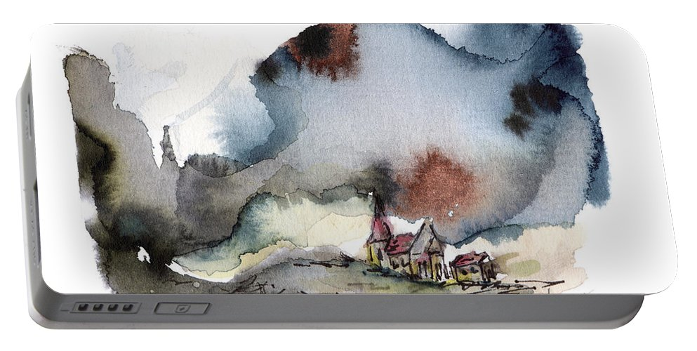 Landscape Portable Battery Charger featuring the painting The Lull Before The Storm by Aniko Hencz