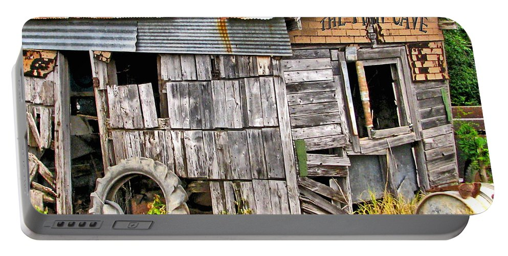 Shed Portable Battery Charger featuring the photograph The Man Cave by Deb Buchanan
