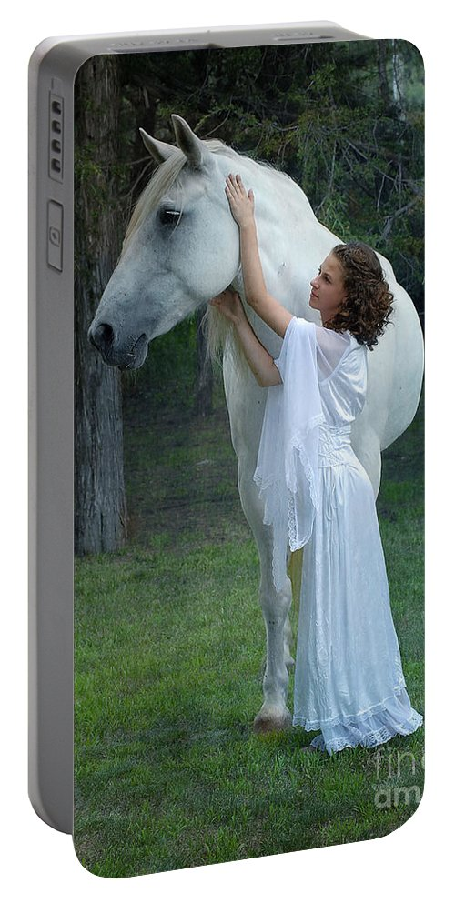 White Horse Portable Battery Charger featuring the photograph The Mare And The Maiden by Fran J Scott