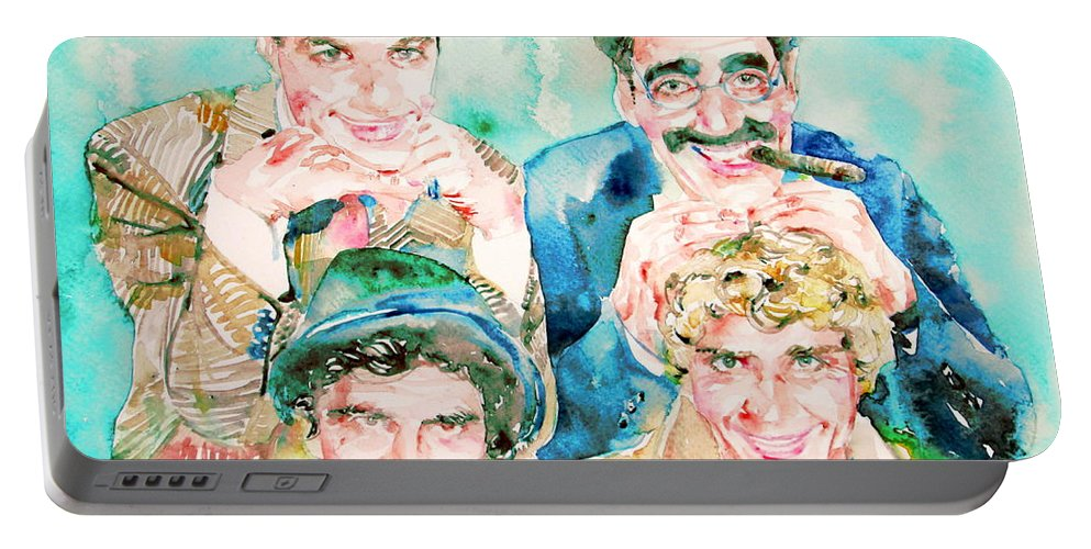 The Portable Battery Charger featuring the painting The Marx Brothers / Watercolor Painting by Fabrizio Cassetta