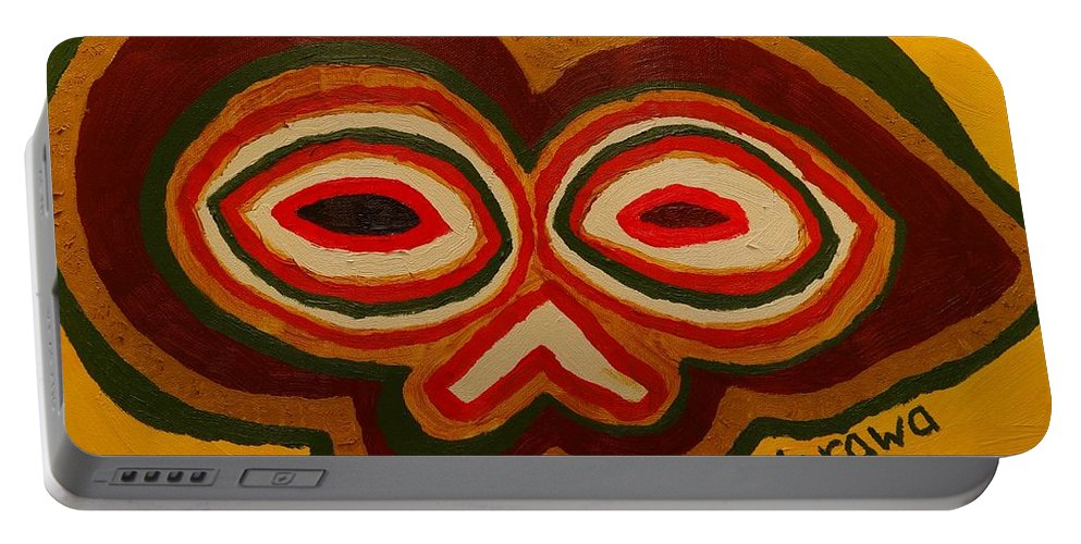 Oil Portable Battery Charger featuring the painting The Mask by Douglas W Warawa