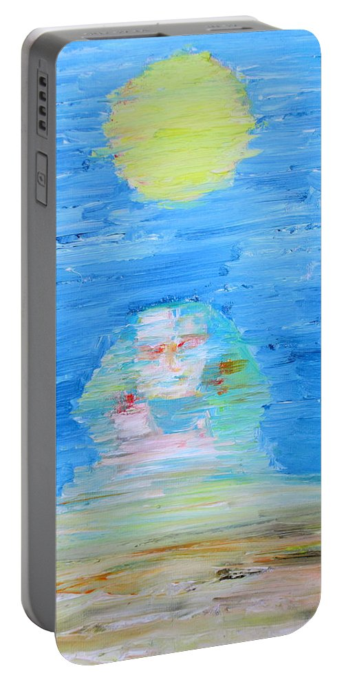 Sphinx Portable Battery Charger featuring the painting The Mighty Sphinx by Fabrizio Cassetta