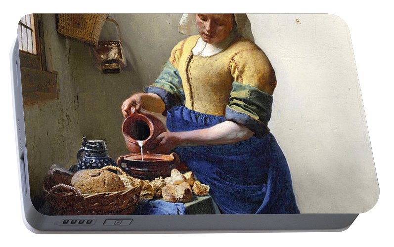 Female Portrait; Kitchen; Scullery; Interior; Bread Basket; Table; Loaf; Bonnet; Servant; Pouring; Milk; Maid; Domestic; Rustic; La Laitiere Portable Battery Charger featuring the painting The Milkmaid by Jan Vermeer