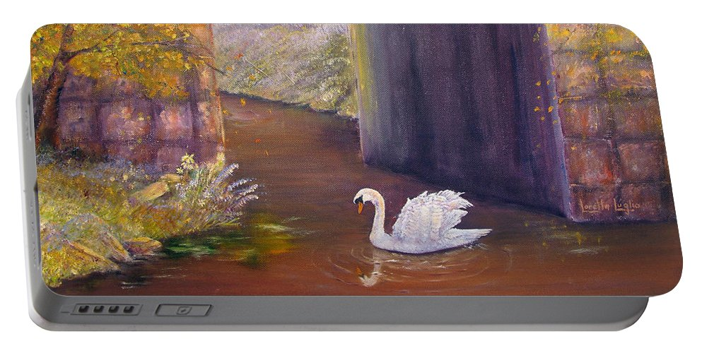 Swan Portable Battery Charger featuring the painting The Mill Swan by Loretta Luglio