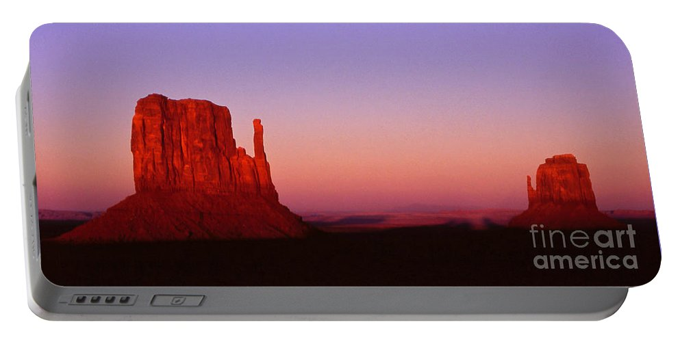 Landscape Portable Battery Charger featuring the photograph The Mittens At Sunset Monument Valley by Alex Cassels